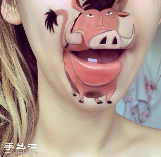女人嘴唇作為畫布 唇彩DIY有趣的卡通圖案