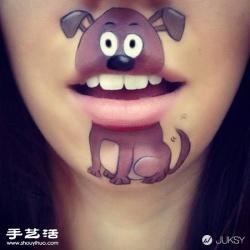 女人嘴唇作为画布 唇彩DIY有趣的卡通图案