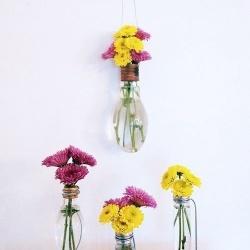 灯泡+铁丝 废物利用制作艺术范儿花瓶