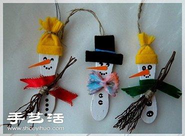 雪糕棍手工制作雪人 冰棒棍diy雪人挂件