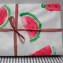 自制西瓜图案包装纸 土豆创意DIY包装纸