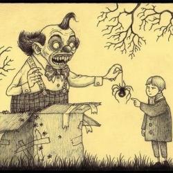 Don Kenn画在便利贴上的阴森怪兽涂鸦