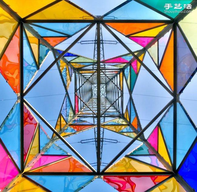 创意diy:利用彩色玻璃美化装饰电线杆图片