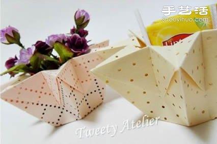 摺紙手工製作立體八角形收納盒/花瓶