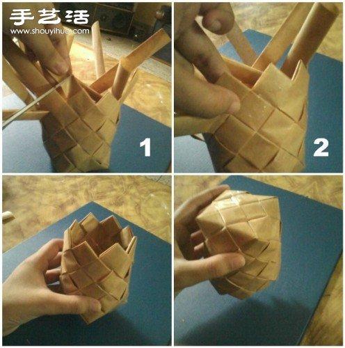 牛皮纸折纸手工制作圆形方形收纳盒图解
