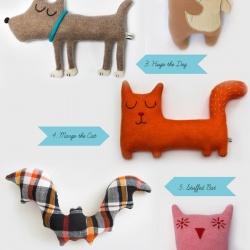 超可爱的手工布艺动物玩偶