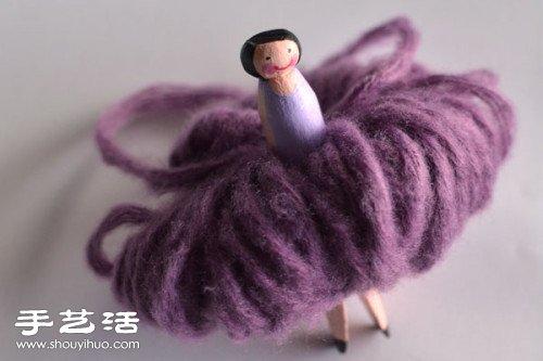毛线+木夹子 diy手工制作婚庆用花仙子玩偶