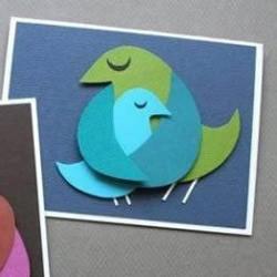 温馨的鸟儿剪纸拼贴画小制作图解教程