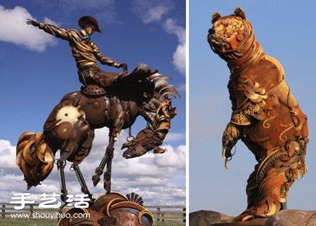 废弃铁块铁皮手工制作而成的动物雕塑 -  www.shouyihuo.com