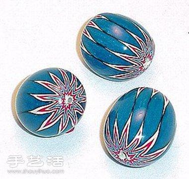 帶花紋的軟陶珠子手工DIY製作圖解教學