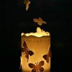 玻璃瓶+铁丝+剪纸 手工制作浪漫蝴蝶飞烛
