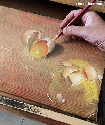 普通铅笔手绘真假难辨的超写实3d木板画!