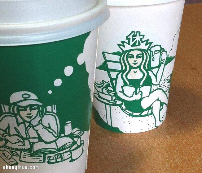韩国画家 soo min kim 的创意纸杯画图片