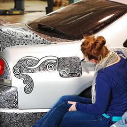 超级抢眼的汽车奇异笔彩绘 酷毙了有木有!