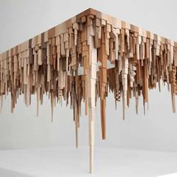 让人惊艳的立体木雕城市天际线