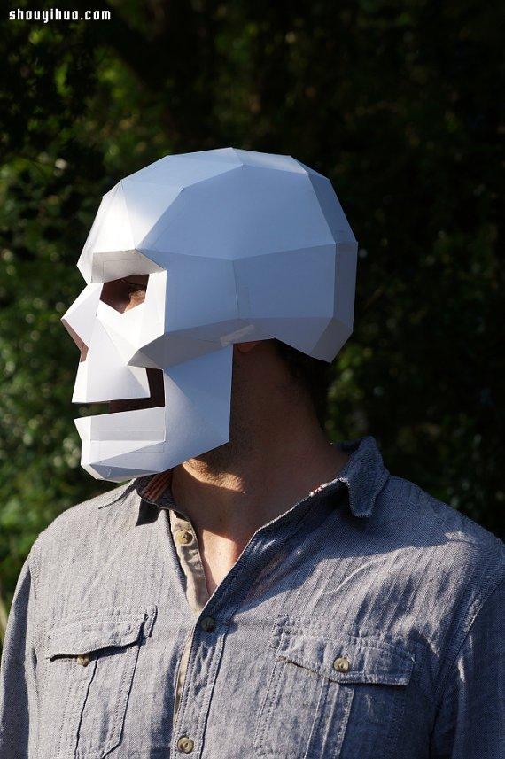萬聖節來啦 牛人用厚紙板製作超帥骷髏面具