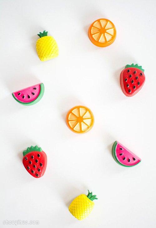 水泥diy手工制作水果造型冰箱贴磁贴教程