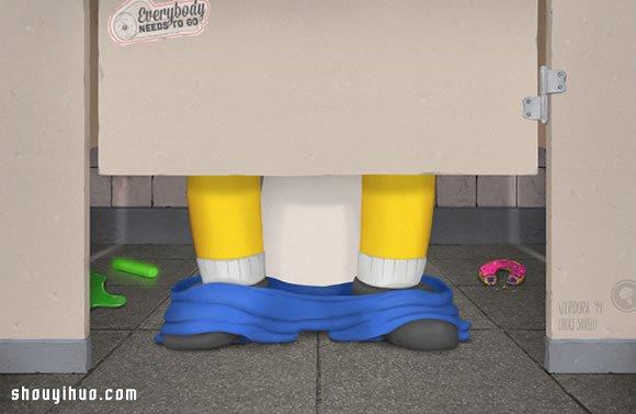 誰都需要上廁所 有趣的卡通人物廁所畫