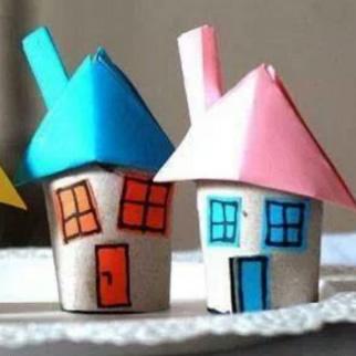 卷纸筒简单手工制作卡通小房子图解教程