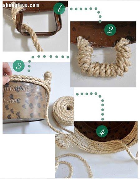 麻繩改造廢舊塑料籃 手工DIY製作收納籃