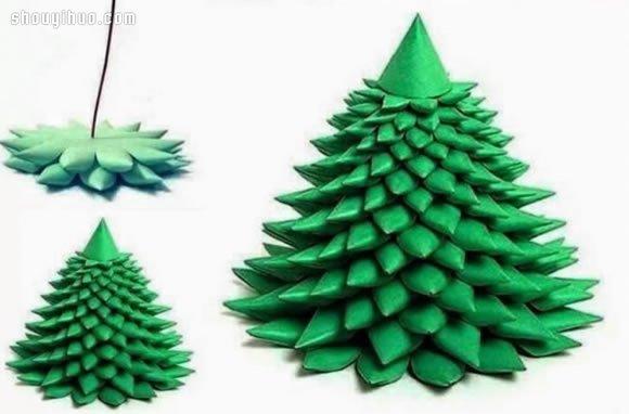 简单折纸立体圣诞树手工制作图解教程