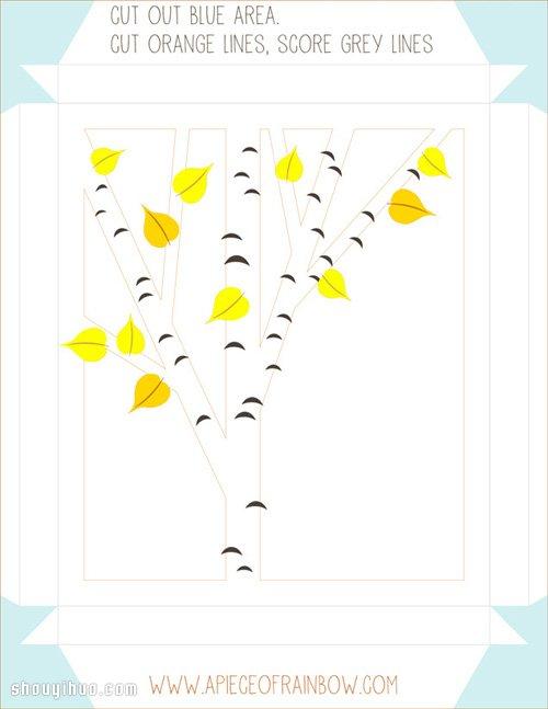 剪紙手工製作立體橡樹裝飾畫框帶打印圖紙