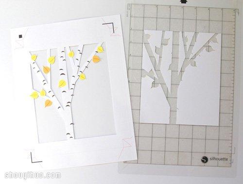 剪纸手工制作立体橡树装饰画框带打印图纸