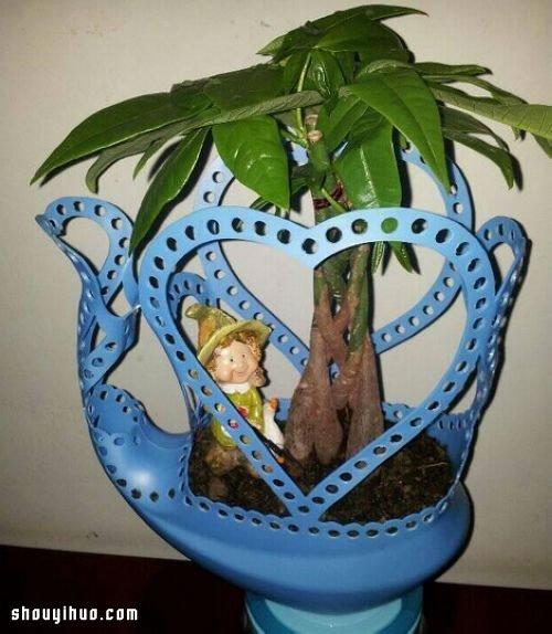洗衣液瓶塑料瓶变废为宝手工制作漂亮花盆