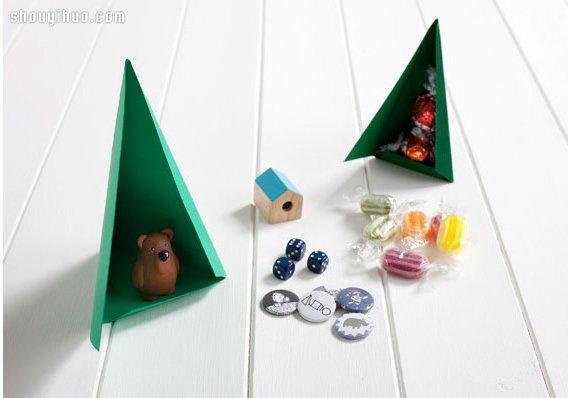 卡纸DIY手工制作精致圣诞树造型礼物包装盒 -  www.shouyihuo.com
