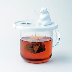北极熊钓茶包杯盖设计 轻松解决泡茶小困扰