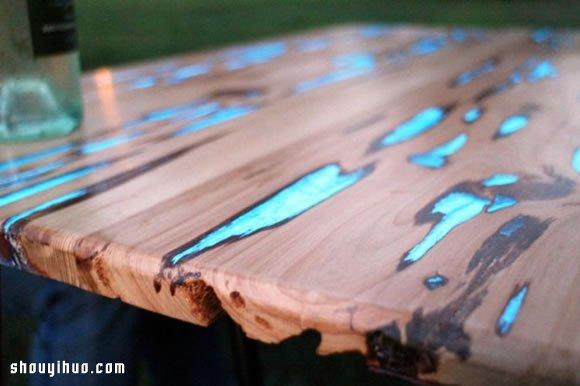 磷光粉+树脂 自制夜晚会发出萤光的美丽木桌 -  www.shouyihuo.com