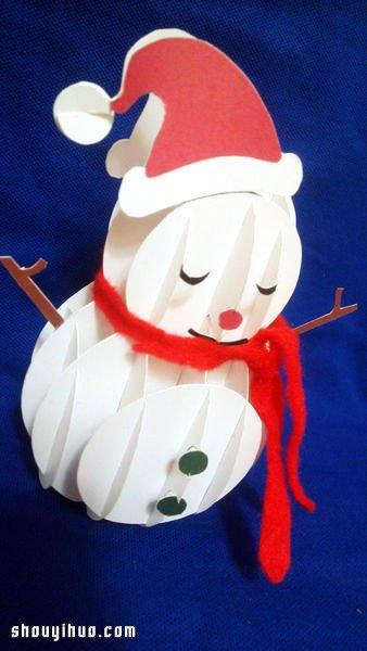 立體紙雕聖誕雪人DIY手工製作圖解教學
