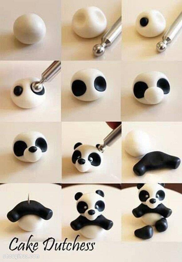 """可爱熊猫宝宝粘土玩偶DIY手工制作,张着小手,纯真的眼睛弱弱的看着你,仿佛在说""""快来抱抱偶吧~~~""""。小编觉得它特别像电影《功夫熊猫》里的二货刚出生时的样子,实在太萌啦~~~ 捏制这款熊猫玩偶只需要用到黑色和白色两种粘土(废话,熊猫身上还有其他颜色么!),根据图示制作出身体的各个部件,最后用牙签将它们固定在一起即可。具体DIY步骤,请参考下面的详细图解教程。"""