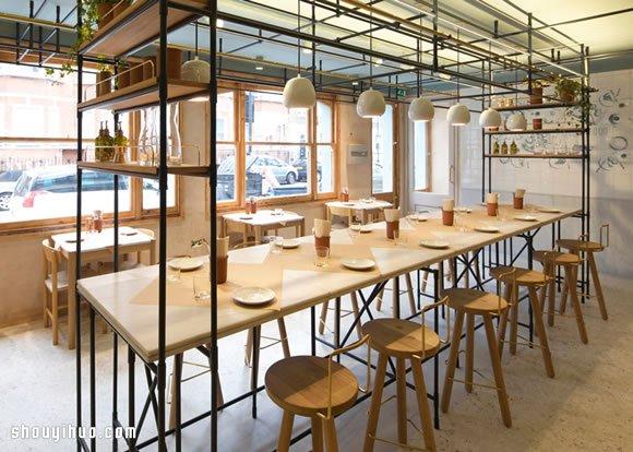 opso 原木家具搭配工业风铁条的餐厅设计