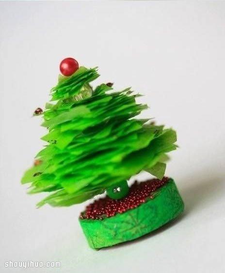 简单迷你圣诞树小装饰品摆件diy手工制作