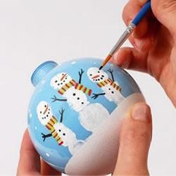 圣诞雪人玻璃球挂饰DIY手工制作图解教程