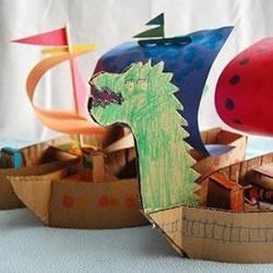 硬纸板瓦楞纸DIY手工制作龙舟帆船玩具模