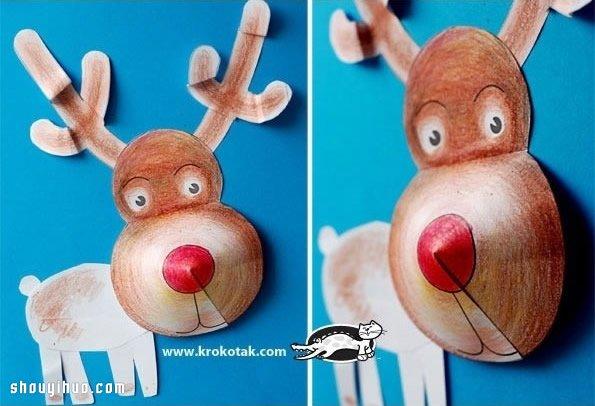 立體聖誕老人/麋鹿/兔子/狗狗剪紙手工製作
