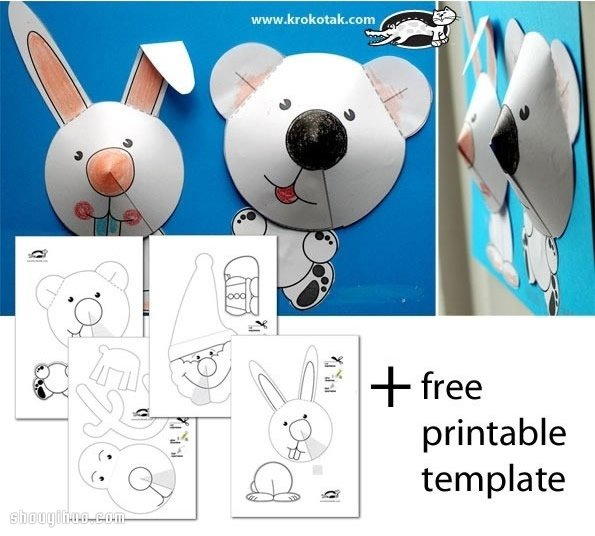 可爱立体圣诞老人、麋鹿、兔子、狗狗剪纸DIY手工制作,爸爸妈妈们抓紧学了去,可以在圣诞节那天与孩子玩亲子手工游戏哦~~~都是最适合圣诞节日的有趣剪纸小手工,而且DIY起来也非常简单,千万别错过~~~ 这些剪纸作品的制作方法大同小异。立体的头部都是在纸片的圆形部分,剪一刀到圆中心,然后用胶水粘合使它呈立体锥形制作而成的。如果觉得这一步对孩子们来说稍有难度,那就由爸妈们代劳吧,孩子负责用蜡笔着色。