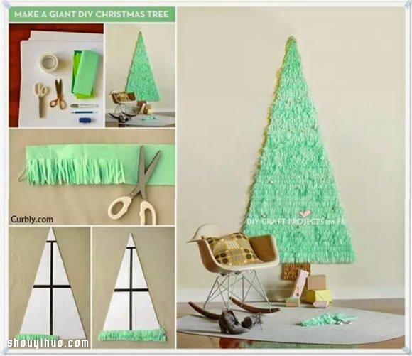 简单剪纸制作可爱圣诞树贺卡,小朋友们快来试试看吧。将自己亲手制作的圣诞贺卡送给爸爸妈妈、老师、小伙伴们,不要太有意思哦,忽然间感觉自己其实还是挺能干的呢~~~ 首先准备好一张白色卡纸,剪裁成三角形圣诞树的形状;然后将绿色皱纹纸叠起来,一边用胶水固定,另一边按照图示的方法剪成飘带装;接着将皱纹纸飘带从圣诞树的底部开始粘贴,直到覆盖整棵树;最后将这棵圣诞树粘贴到贺卡的内部,一张非常有节日特色的圣诞树贺卡就制作完成了。
