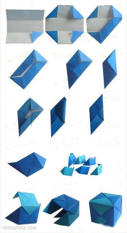 正方体的折法 折纸制作正立方体diy图解教程