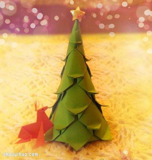 一张纸折纸立体圣诞树手工DIY制作图解教程