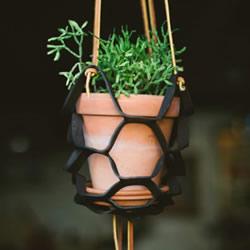 简约皮革花盆架DIY 皮革盆栽吊架手工制作