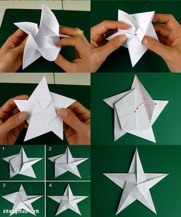 五角星折纸 一张纸折纸五角星星图解教程