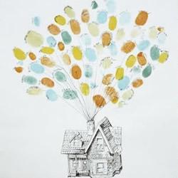 亲子指纹画DIY:被气球带向天空的小房子