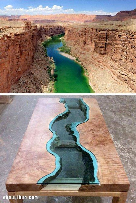 利用木头和蓝色玻璃 制作有美丽河流的桌子