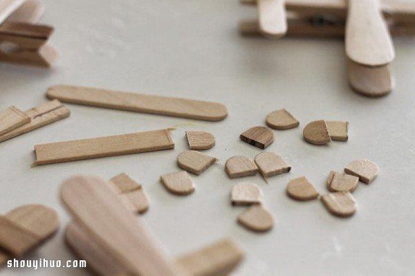 雪糕棍+木夹子 简单手工制作飞机模型玩具