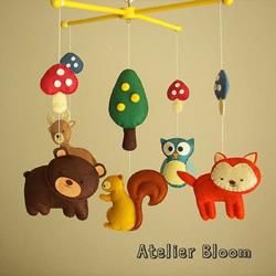 超可爱的手工布艺卡通小动物儿童风铃