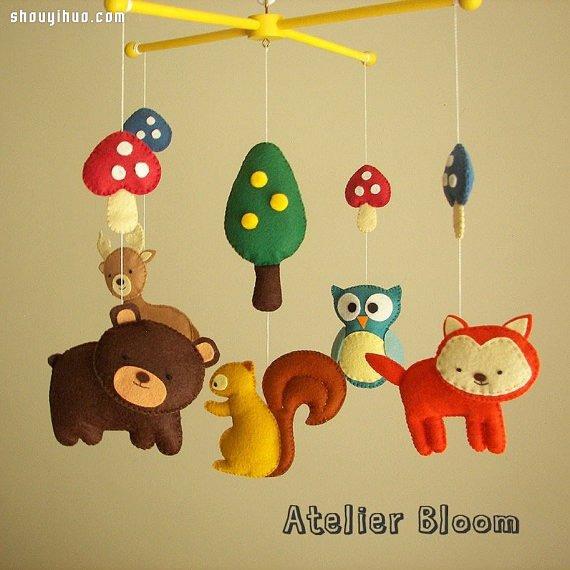 超可爱的手工布艺卡通小动物儿童风铃图片