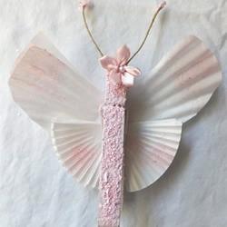 木夹子+蛋糕纸 变废为宝手工制作漂亮蝴